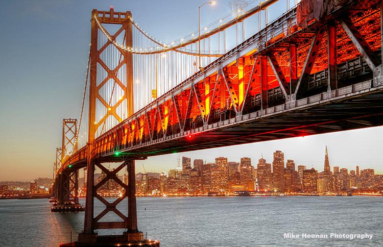 Bay Bridge at sunset by Mike Heenan